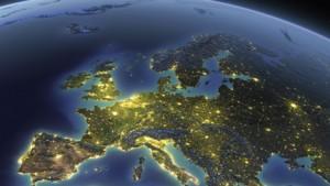 A detailed view of the earth from space with night lights --- Image by © Matthias Kulka/Corbis