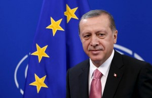 Turkey's President Tayyip Erdogan looks on ahead of a meeting at the EU Parliament in Brussels, Belgium October 5, 2015. Erdogan appeared to mock European Union overtures for help with its migration crisis as he arrived for a long-awaited state visit to Brussels and a string of meetings with EU leaders set to start on Monday. REUTERS/Francois Lenoir